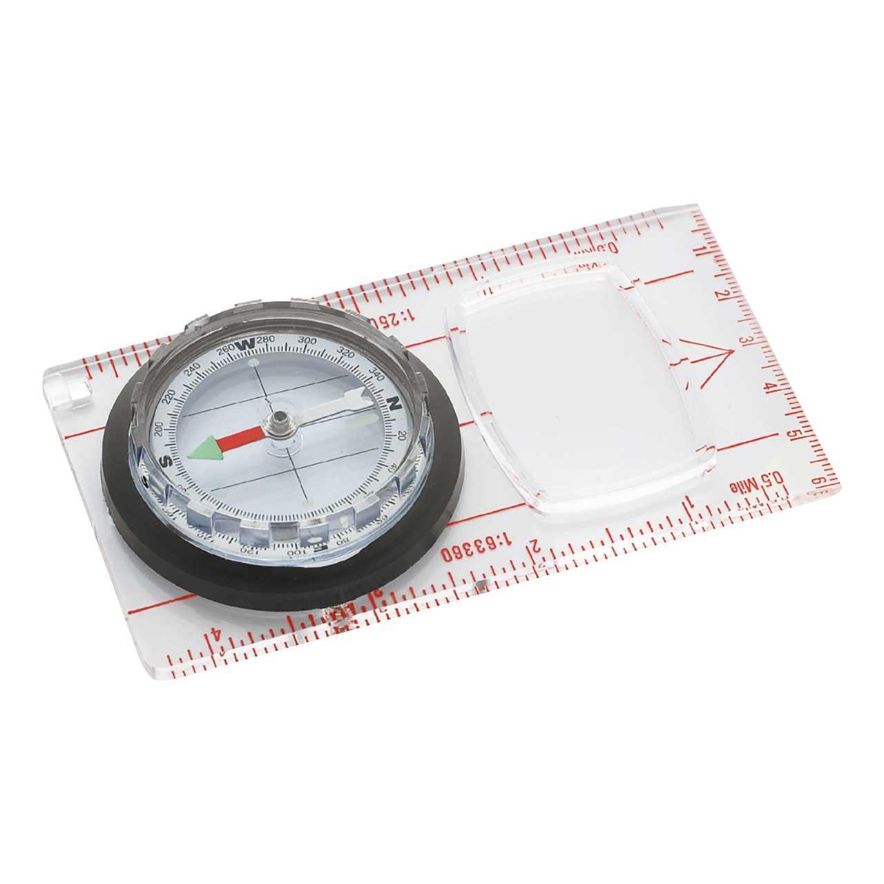 Kompass, mit Lupe